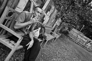 Smoking on park bench