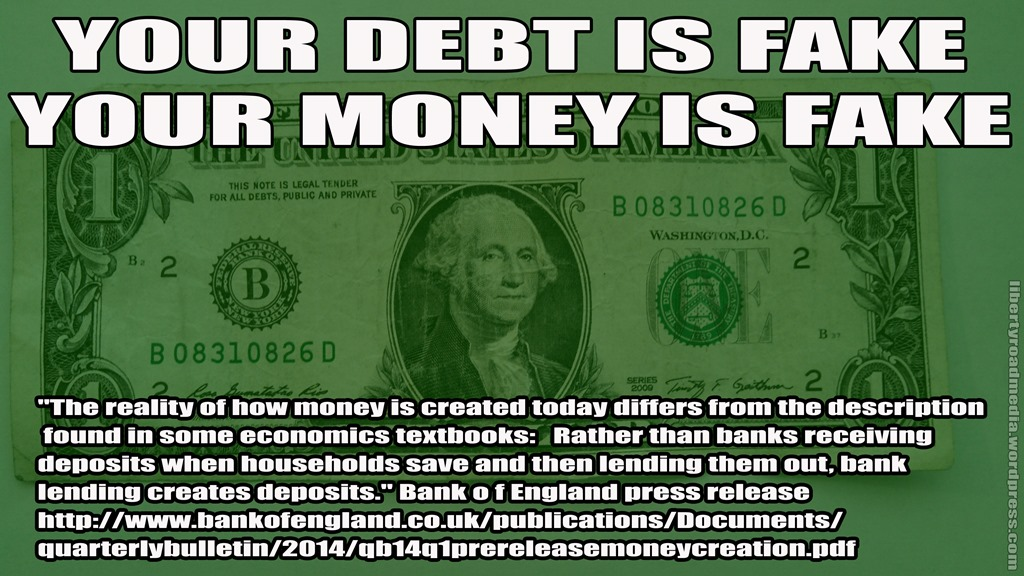 your debt is fake meme lrm copy does money exist? of course not liberty road media